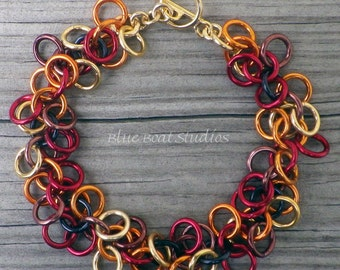 Colorful fall chain maille bracelet; shaggy loops  bracelet; chainmaille jewelry; chainmaille bracelet; fall bracelet; fall jewelry