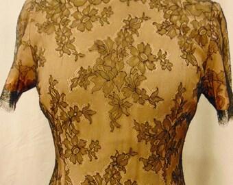 Lovely lace dress  over soft apricot  sik crepe chiffon