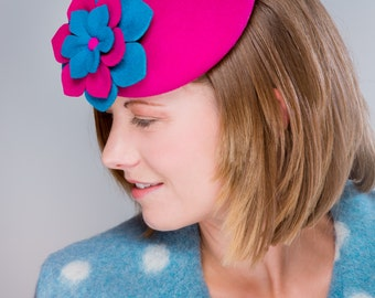 Button hat, bright pink and turquoise felt percher hat