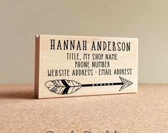 Personalized Feather Arrow Business Card Stamp, Business Card Rubber Stamp