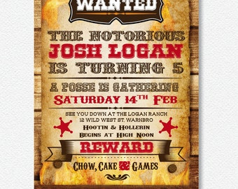 Cowboy Western Party Invitation | Personalised Digital file