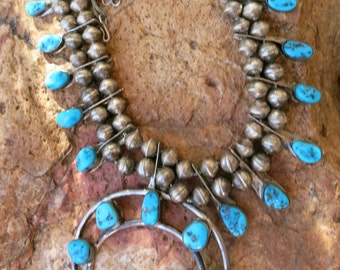 "Old NAVAJO SQUASH BLOSSOM Necklace, 27 Turquoise Cabochons, 24"", Sterling"