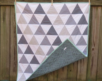 Grey and Mint Triangle Baby Quilt