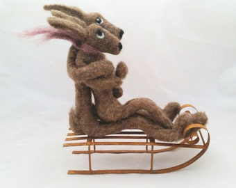 Commission only - Hugging Hares on Sleigh - needle-felted 3D wool sculpture