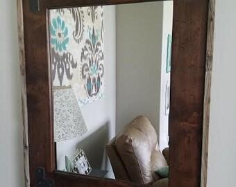 Alder Mirror w/Barnwood Outside Edge