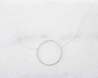 Delicate Silver circle necklace, Small necklace, Minimalist necklace, Dainty silver necklace, Delicate necklace, Simple necklace