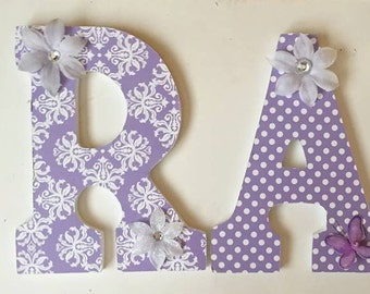 baby nursery wood letters, wall letters for girls, lavender letters, custom letters, decorative letters, hanging letters, personalized gift