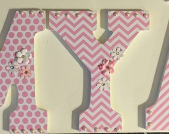 Wood Letters Decorative Mia wall letters for baby nursery, custom hanging letters, name letters, girls letters, pink and white decor baby
