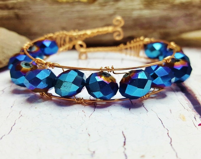 Rose Gold Bridal Jewelry ~ 50th Anniversary, Birthday Gift For Wife ~ Rose Gold Wire Cuff ~ Titanium Blue Crystals & 14k Rose Gold Wire
