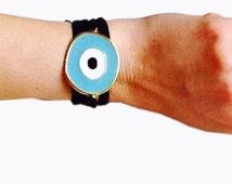 Evil Eye Bracelet, Under 10 Dollars,LightBlue Silky Lycra Bracelet Handmade Decorated with Lightblue Enameled Evil Eye /Christmas Gifts
