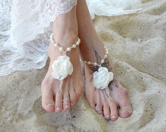 Wedding Barefoot Sandals Satin Flower Pearls Bridal beach sandals Barefoot Jewelry Bride wedding Shoes toe thong Hemp handmade sandals Ivory