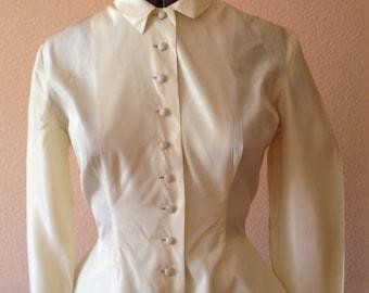 Jonathan Logan 1950s Cream taffeta 'New Look' peplum blouse