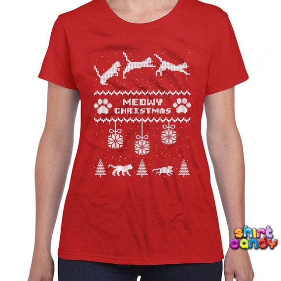 Ugly christmas t shirt meowy christmas t shirt merry christmas for Tacky t shirt ideas