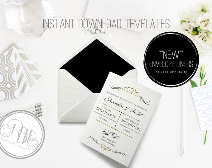 Art Deco Wedding Invitation/Envelope Liner/INSTANT DOWNLOAD Template/5x7/PDF Editable Text Only/Black White Gold/Art Deco - Anneliese