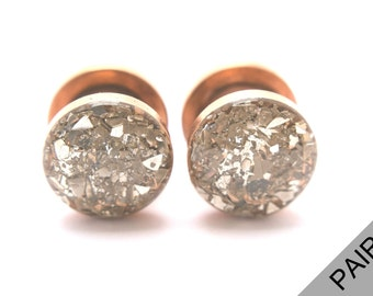 Silver Crushed Glass on Rose Gold Plugs / 16g, 10g, 8g, 6g, 4g, 2g, 0g, 00g, 7/16, 1/2, 9/16, 5/8, 11/16, 3/4, 7/8, 1 in / Glass Plugs
