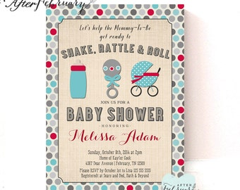 Shake Rattle and Roll Baby Shower Invitation // Baby Boy Shower Invite // Teal and Red Polka Dots // Printable OR Printed No.187BABY