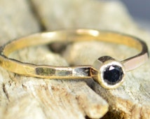 Classic Solid 14k Gold Black Spinel Ring, 3mm gold solitaire, solitaire ring, real gold, Solitiare , Mothers Ring, Solid gold band, gold