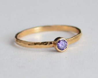 Classic Solid 14k Rose Gold Amethyst Ring, Solitaire Ring, Purple Ring, Real Gold, February Birthstone, Mothers Ring, Solid Rose Gold, Band