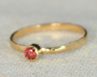 Classic Rose Gold Filled Garnet Ring, Solitaire, Solitaire Ring, Rose Gold Filled, January Birthstone, Mothers Ring, Gold Band, Garnet Ring