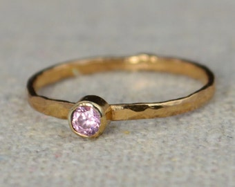 Classic Rose Gold Filled Tourmaline Ring, solitaire, solitaire ring, rose gold filled, October Birthstone, Mothers Ring, gold band, Band