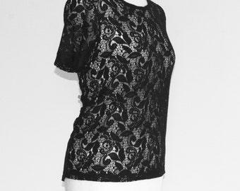 Black lace shirt, lace blouse, black blouse, boho chic boho, gothic, black lace blouse