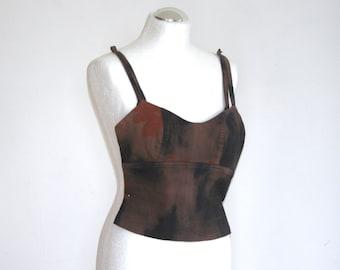 Brown crop top / shirt suspenders / top tay day / lycra top / top hippie / hipster