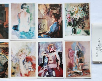 Watercolors of Soviet Artists - Set of 16 Vintage Soviet Postcards, 1974. Sovetskiy hudozhnik. Kuzmin, Varnovitskaya, Lebedev, Konashevich