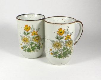 Vintage Japanese mugs, pair - two japanese stoneware mugs with flowers - vintage flower coffee cup - pair of vintage mid-century japan mugs