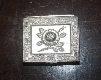 Vintage Metal Trinket Box with Rose - Made in Japan