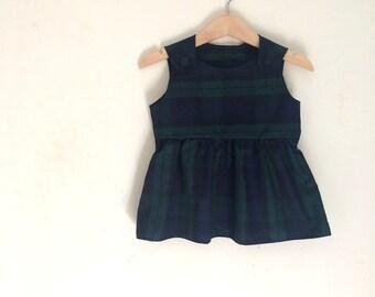 Tartan Pinafore Dress | Baby Girls Checkered Dress | Green Tartan Dress | Baby Green Tartan Dress | Tartan Pattern