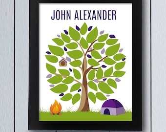 Tent Guest Book Tree / Printable Pdf / Camping Baby Shower Birthday Guestbook  Ideas Fingerprint Boy