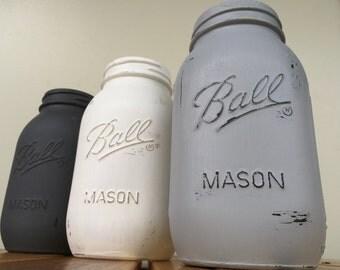 Set of 3 Mason Jars / Charcoal, Lt Gray, White Vase / Painted Jars / Distressed Jars