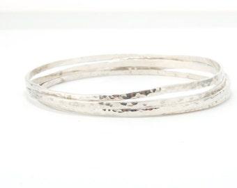 Stacking Bracelet Sterling Silver Bracelet, Women Shiny Bangle, 4 Hammered Bracelet, Delicate Bracelet, Shiny Bangle ,Stacking Bangle