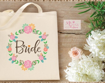 Bride Wreath  Wedding  Tote Bag - Bridal Party Totes -Bachelorette Bags