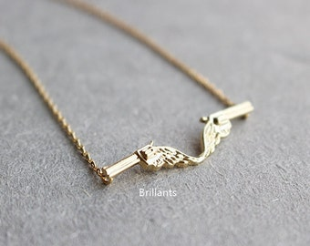 Pistol necklace,  Gun necklace, Lyer, Simple necklace, Bridesmaid necklace, Wedding necklace