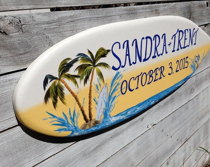 Palm Tree Wedding Decor, Surfboard Beach Sign, Beach Wedding Sign Wood Gift For Couple, Hawaiian Wedding