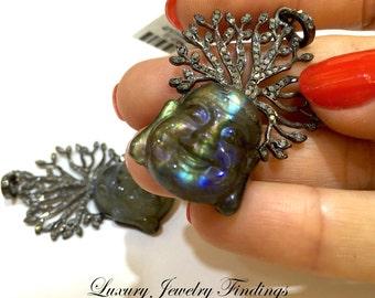 Buddha Pendant Necklace, Labradorite Buddha Pendant, Yoga Jewelry, Buddha in Handmade, Buddha Pendant Necklace, Buddha Jewelry, Lucky Buddha