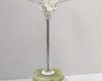 Shabby Chic White Candelabra Centerpiece Candle Holder with Onyx & Glass