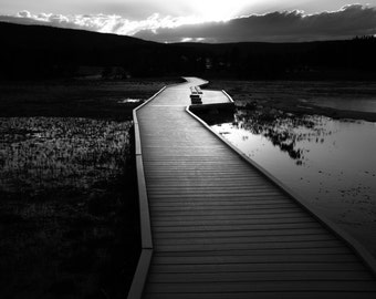 Abandoned Walkway: An Archival Pigment Fine Art Print of a Walkway in the Upper Geyser Basin at Sunset in Yellowstone, Wyoming