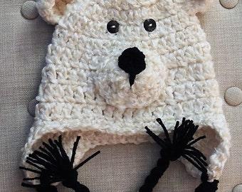 Crochet Polar Bear Hat, LuvBeanies, Crochet hats for kids, Boy Hats, Bear Hats, Braided hats, Animal Hats, Photo props, Infant hats