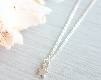 Tiny silver star necklace - Little silver star necklace - Small silver star necklace - Tiny star necklace - Small star pendant - Star charm