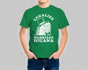 Legalize Marriage Iguana Boys T-Shirt - Funny Children's Iguana Shirt - Lizard Top for Boy and Girls
