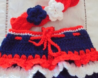 4th of July Skirt,  Crochet 4th of July Set, Infant 4th of July Set, Infant 4th of July Photo Prop Set