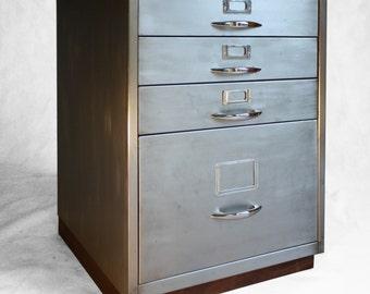 Refurbished Retro filing cabinet with walnut base