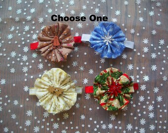 Holiday Fabric Flower Barrette, Choose One on a French Barrette or Alligator Clip