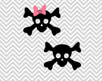 Halloween Skull and Skull Bow SVG, DXF for Cricut Design Space, Silhouette, Die Cut Machines, Instant Download of svg, dxf, Studio 3, & jpg
