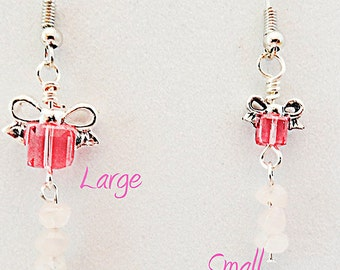 PINK CUBE EARRINGS, pink cube jewelry, pink cube crystals, pink crystals, cube crystals, silver bows, pale pink beads, dangle earring - 0811