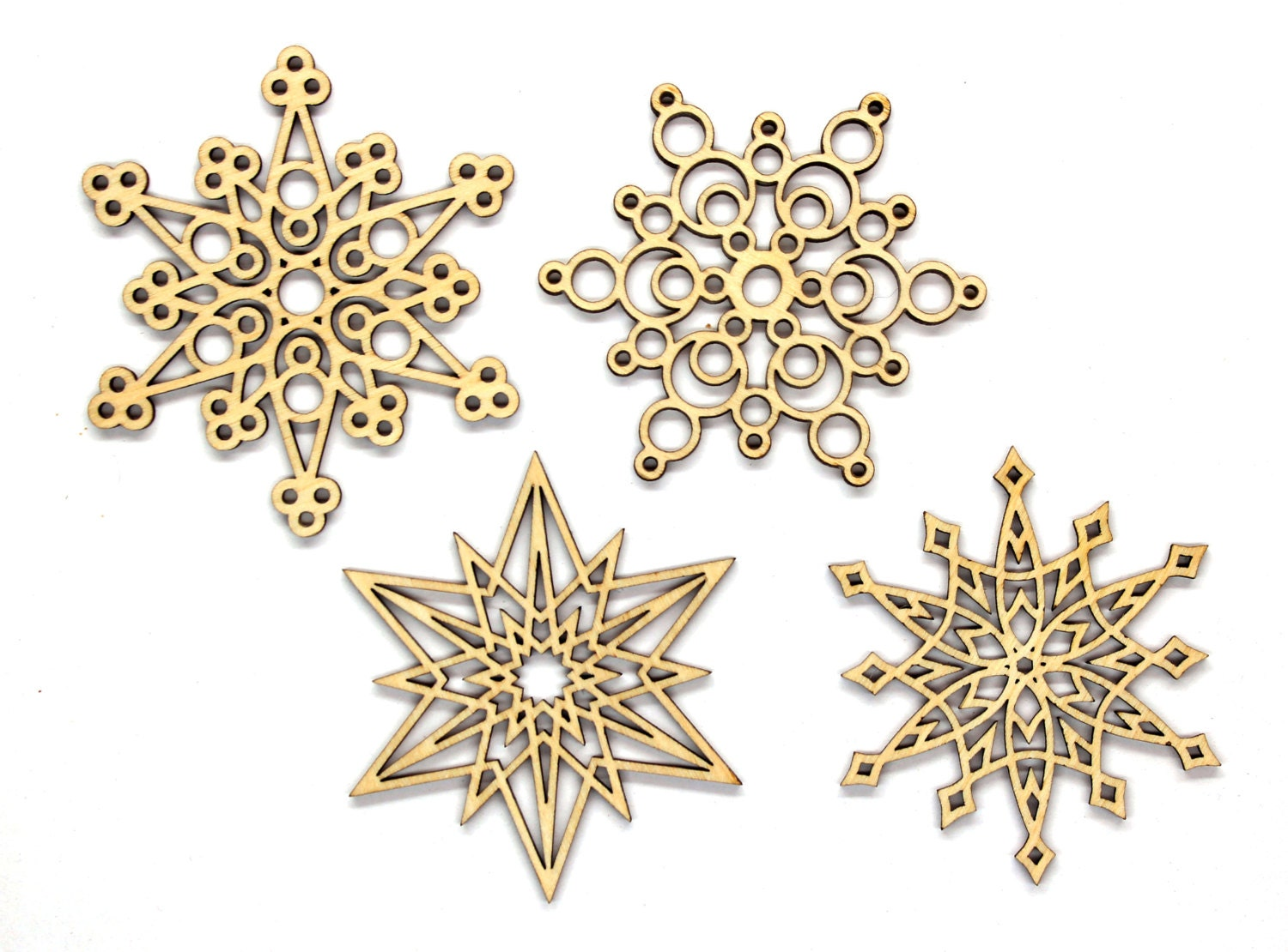 Christmas snowflake ornaments - Set Of 12 Unpainted Laser Cut Christmas Snowflakes Diy Ornaments Large Wooden Snowflakes Blanks 70 Mm