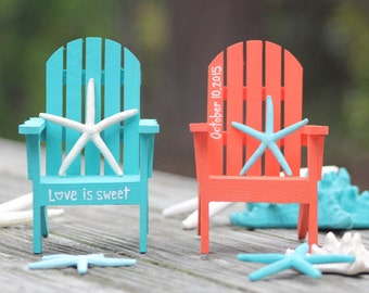 Custom Personalized Hand Painted Miniature Adirondack Chair Cake Topper    Beach Destination Wedding   Turquoise Coral