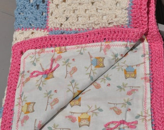 Baby Blanket Hand Crocheted Afghan Cotton Granny Squares Owl Print